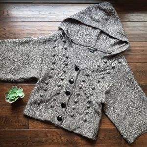 Kensie hooded chunky oversized gray cardigan